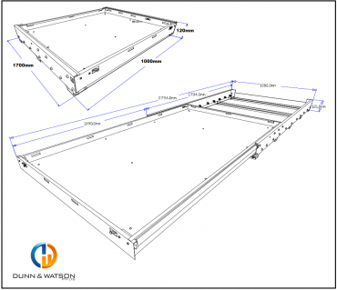 1700mm tub slide cad