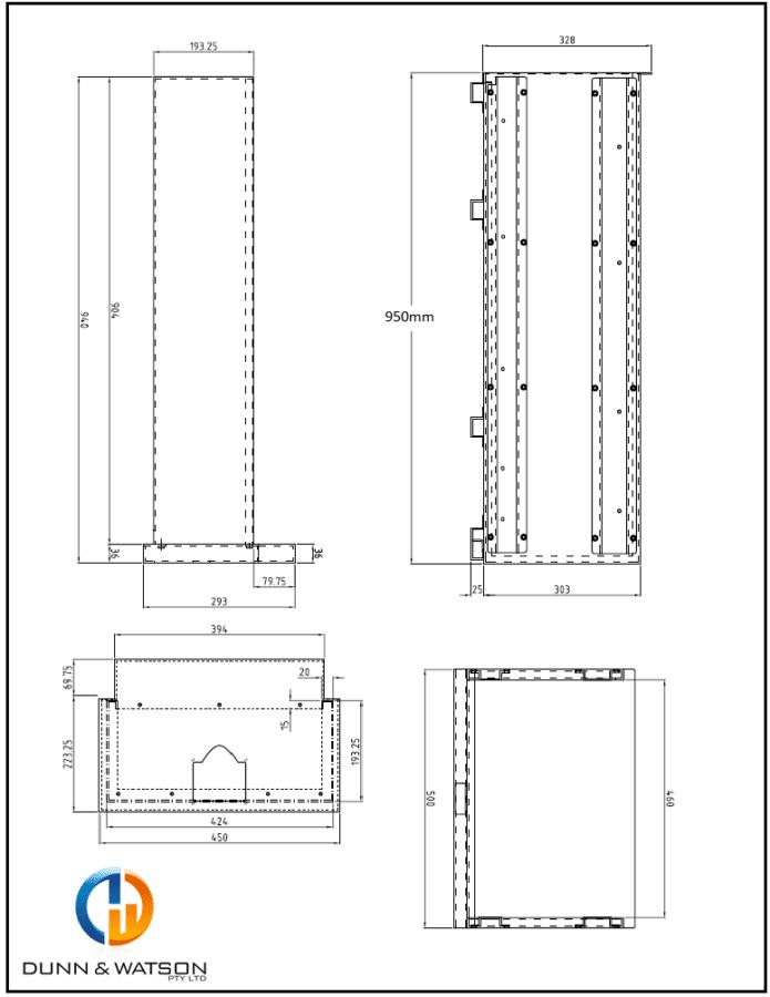 950mm sliding top cad