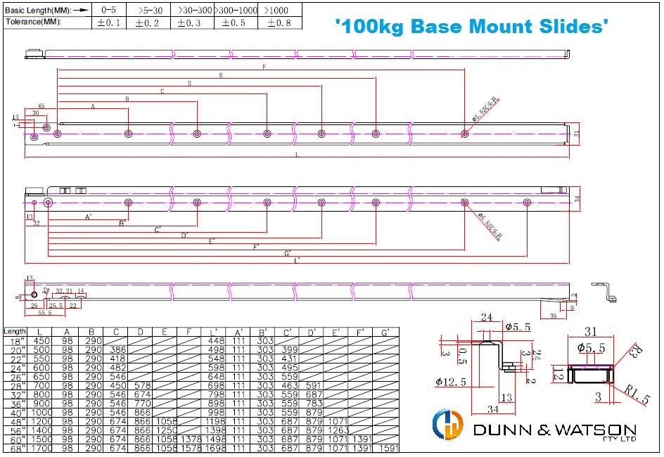 Dunn & Watson - Base Mount Drawer Slides - 100kg