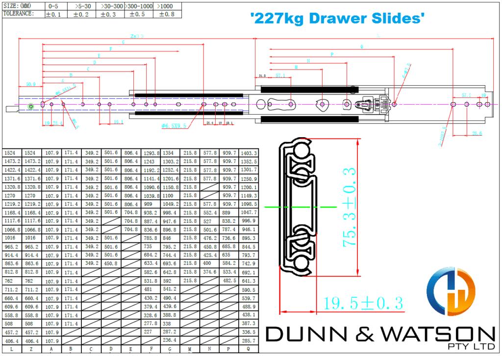 Industrial hardware, Camper Trailer, Caravan Manufacturers, Boat Builders - Heavy Duty Drawer Slides - 227kg Titan Series
