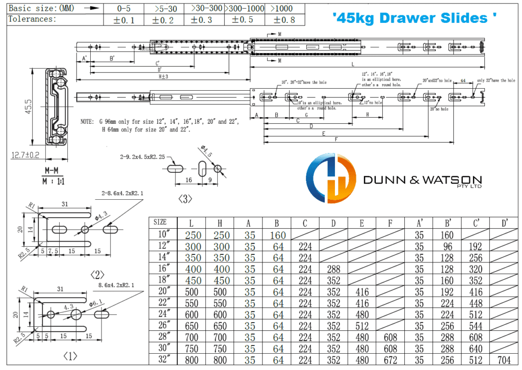 Dunn & Watson - Standard Drawer Slides (Push to Open) - 45kg