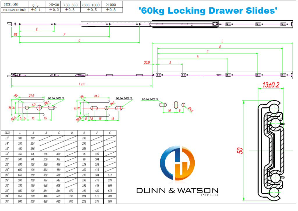 Dunn & Watson - Locking Drawer Slides - 60kg 'Achillies Series'