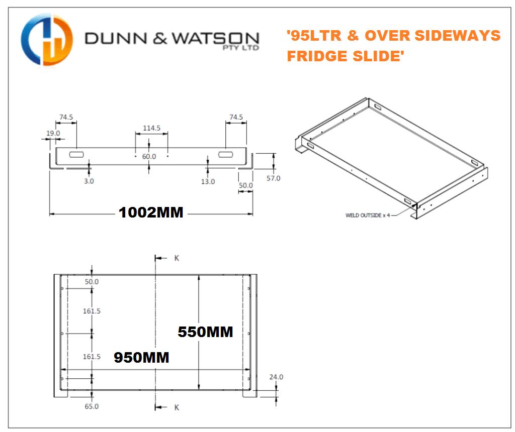 Dunn & Watson - 4x4 Sideways Extending Fridge Slide - 95LTR & Over