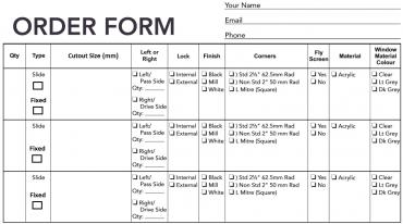 custom window order form