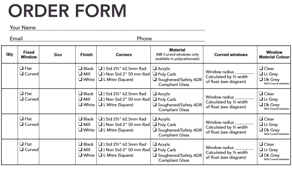 fixed window order form