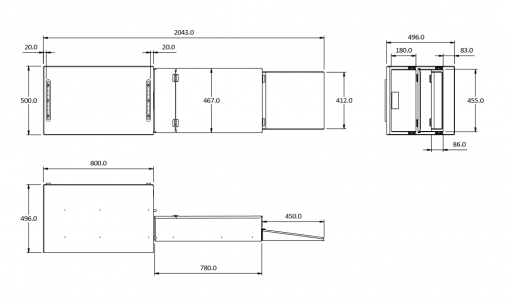 drop kitchen dimensions